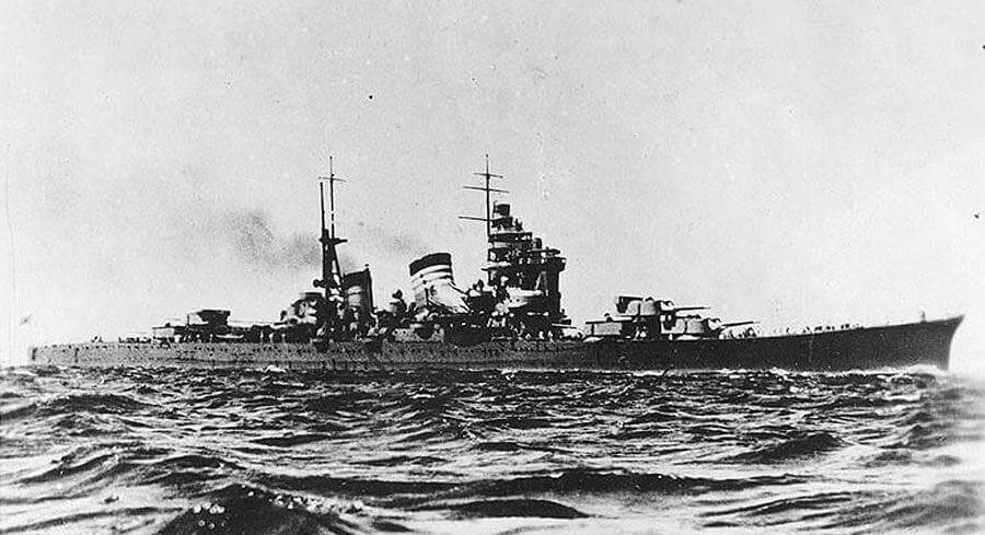 The Japanese cruiser Haguro at sail